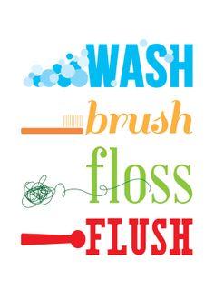Wash Brush Floss Flush Typography Wall Art Print 8x10 or 8.5x11