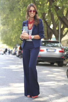 Navy n red is always gorgeous .. not ta mention a flared pantsuit