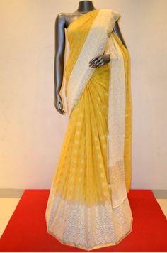 Yellow Mustard Designer Pure Georgette Silk Saree