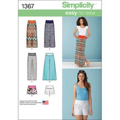 Simplicity Pattern 1367U5 16-18-20-2-Misses Skirts PantsSimplicity Pattern 1367U5 16-18-20-2-Misses Skirts Pants,