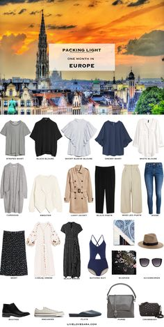 What to Pack for a month in Europe Packing Light List #packinglist #packinglight #travellight #travel #livelovesara