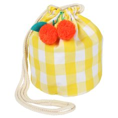 We love this cute drawstring bag, decorated with a yellow gingham pattern and embellished with a cherry pom pom and leaf decoration. Lined cotton with drawstring handles. Size: 6 x x 6 inches Meri Meri Bucket Bag, Suitcase Set, Rich & Royal, Straw Handbags, Kids Bags, Cotton Bag, Mellow Yellow, Girls Accessories, Kind Mode