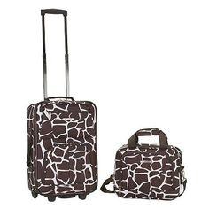 Rockland Rio Carry On Luggage Set - Giraffe, Antelope Brown Carry On Luggage, Luggage Sets, Travel Luggage, Small Luggage, Travel Bags, Rockland Luggage, Lightweight Luggage, Skate Wheels, Giraffe Print