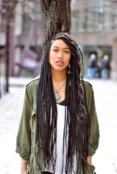 Long hairstyles from small box braids