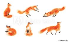 Set of watercolor red fluffy foxes in motion on white. Sitting fox, sleeping fox, playing fox, jumping fox, going foxy. - Buy this stock illustration and explore similar illustrations at Adobe Stock Watercolor Red, Watercolor Animals, Small Fox Tattoo, Fox Drawing, Fox Illustration, Illustrations, Fox Art, Cute Fox, Wall Art Sets