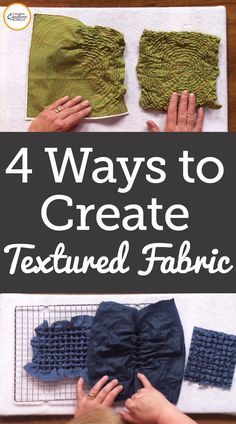 Texturizing fabric can be a fun and easy way to add a lot of interest to your next quilting project. Heather Thomas reveals four simple methods for texturizing the fabric for your quilt. Textile Manipulation, Fabric Manipulation Techniques, Textiles Techniques, Sewing Techniques, Art Techniques, Fabric Manipulation Tutorial, Fabric Painting, Fabric Art, Fabric Design