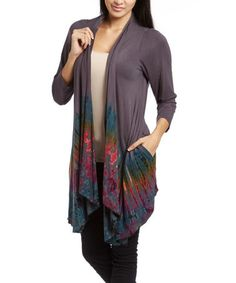 Take a look at this Gray Tie-Dye Open Cardigan on zulily today!