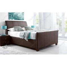 Allendale Brown Leather Bed 4ft6