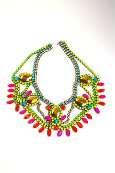 Doloris Petunia Neon Crystal Statement Necklace