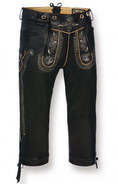 Bavarian Leather Pants Scott black Nappa Goatskin kneelength H-Beam