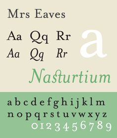 Font sample specimen: Mrs Eaves. Selection: www.rotterdam-vormgeving.nl