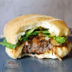 Great Canadian Moose Burgers With Yukon Jack Glaze (hahaha, i like the way he took a bite while he was adjusting his photo)