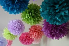 7 Tissue Party Poms .. Wedding Reception Decorations by PartyPoms