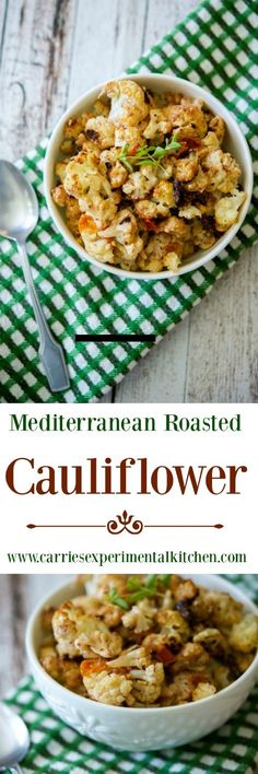 Cauliflower roasted with fresh Mediterranean flavors like Greek yogurt ...