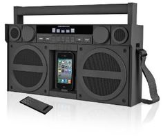 An iPhone portable speaker/dock that looks like an old-school boom box.  So rad.