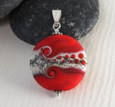 Bright Red Soft Mat Glass Medallion, Glass Pendant, Lampwork Jewelry, Sterling Silver, Glass Jewelry, Lampwork Bead, Handmade in Sweden by MarianneDegener on Etsy