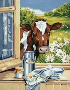 This design by Royal Paris features a brown and white cow looking through a window. Cow Painting, Painting & Drawing, Cow Pictures, Farm Art, Cute Cows, Cow Art, Country Art, Animal Paintings, Watercolor Art