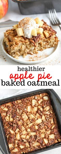 Get ready for fall with this healthy apple pie baked oatmeal! Made with rolled oats, diced apples, cinnamon, and maple syrup for sweetness, this baked oatmeal is perfect for those cooler mornings. Baked Oatmeal Recipes, Baked Oats, Oats Recipes, Apple Recipes, Cooking Recipes, Healthy Baked Oatmeal, Baked Apples Healthy, Amish Recipes, Dessert Recipes