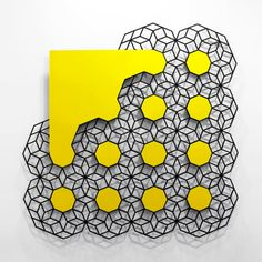 """Cloud (Yellow)"" by Aakash Nihalani  painted stainless steel  72 x 72 x .25 inches"