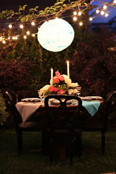 Love stringing lights between trees... romantic ambiance!