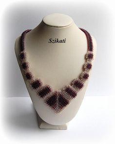 Beige eggplant necklace Statement beadwork necklaceOOAK by Szikati