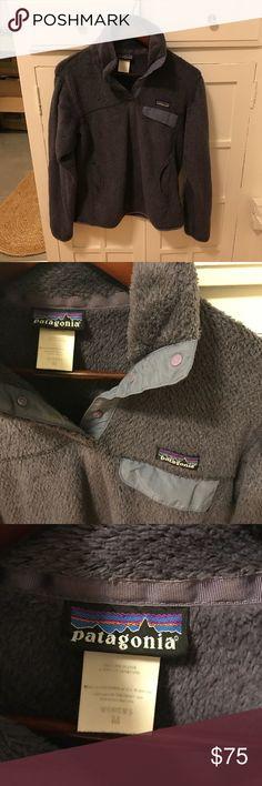Patagonia re-tool snap-t fleece pullover M Dark purple/purple grey color. Perfect condition. Super soft. Size medium. Patagonia Tops Sweatshirts & Hoodies