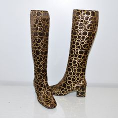 Vintage 60s Space Age Metallic 60s Gold Glitter Disc GoGo Boots GoLo BooTs
