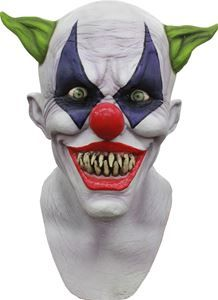 Creepy Giggles Clown Mask Halloween in Masks: Scary clown mask with wicked pointed teeth. Latex full over-the-head mask of a clown you would not want to have show up at your child's birthday party. One size fits most. Halloween Clown, Gruseliger Clown, Joker Clown, Scary Clown Mask, Spirit Halloween, Adult Halloween, Halloween 2017, Clown Costumes, Trendy Halloween