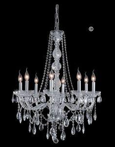 * Diamond Cut Full Lead Crystal, As Pictured. (Swarovski also available)  * 8 x E14 240v Dimmable Bulbs Included (LED bulbs can be purchased separately)  * Width: 70cm Height: 86cm Weight: 12 kg (Supplied with 1m of adjustable chain)  Visit: http://www.designerchandelier.com.au/