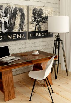 rustic home office, oficina rustica natural