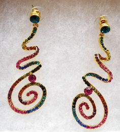 $5.00 Swirl Earrings with Multi-Color Stones (82015-1341MS) jewelry, collectibles #Unbranded