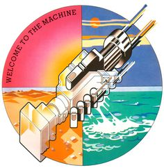 Hipgnosis' cover art for Pink Floyd, Wish you were here: welcome to the machine, in the background the four elements