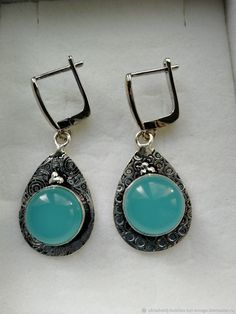 Materials: chalcedony stone, natural stone, blue stone, 925 silver, jewelry alloy Size: Sene size 45 - 20 mm .. Stone 13 mm . Free worldwide shipping Handmade product #handmade 925 Silver Earrings, Stone Earrings, Silver Jewelry, Drop Earrings, Chalcedony Stone, Natural Stones, Surfing, Classic, Handmade