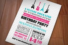 ROCK GUITAR Girl Birthday Printable Invitation in Pink and Teal on Etsy, $17.20 AUD