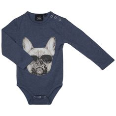 French Bull Dog Baby Body  Product Description: This sweet baby body with bulldog print by the Danish brand Petit by Sofie Schnoor