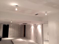 Finishing the plaster walls. Light locations are cut into gypsum ceiling, and wires are pulled through for hook up. Basement Bathroom, Bathroom Interior, Interior Paint, Gypsum Ceiling, Durham Region, Plaster Walls, Home Renovation, Living Spaces, Flooring