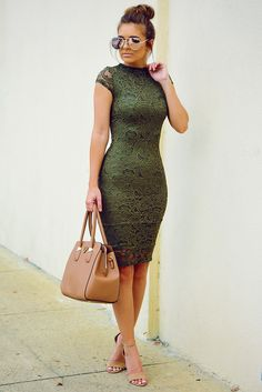 Pin by katy asanzs on look Olive Dress, Olive Green Dresses, Cute Dresses, Beautiful Dresses, Casual Dresses, Unique Dresses, Formal Dresses, Semi Formal Outfits For Women, Olive Clothing