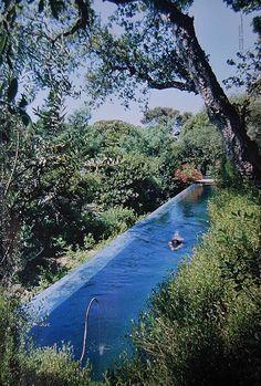 long narrow natural pool