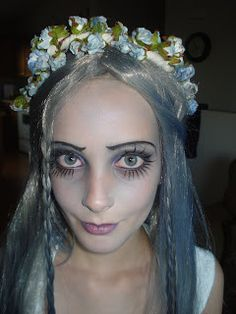 Corpse bride makeup & hair–note blue flowers and painted on eyelashes bridal makeup – Wedding Corpse Bride Makeup, Corpse Bride Costume, Bridal Makeup Tips, Wedding Day Makeup, Bridal Tips, Sugar Skull Costume, Makeup Designs, Makeup Ideas, Halloween Make Up