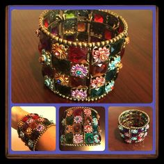 Colorful Italian cuff, GORGEOUS! Accepting all reasonable offers. Gorgeous cuff bracelet purchased in Naples, Italy. It has beautiful colored gems (not real) throughout as well as pretty colored flowers with rhinestones in the center. The outside is lined in a gold tone metal. It is truly beautiful. I hate to part with it but I just have not worn it. It deserves to be seen! Jewelry