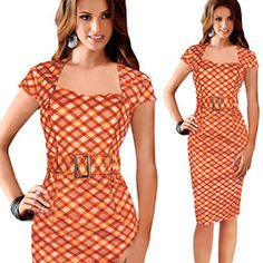 Cheap houndstooth dress, Buy Quality office dress directly from China dress with Suppliers: Women Elegant Houndstooth Dress Summer Square Collar Short Sleeve Orange Plaid Dress Knee-length Pencil Office Dress With Sashes Elegant Dresses, Casual Dresses For Women, Dresses For Work, Summer Dresses, Clothes For Women, Office Dresses, Party Dresses, Dress Work, Ladies Clothes