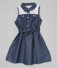 Look at this #zulilyfind! Navy Polka Dot A-Line Dress - Infant, Toddler & Girls #zulilyfinds