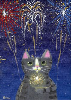 Fireworks Cat Original Cat Folk Art Painting. $45.00, via Etsy.