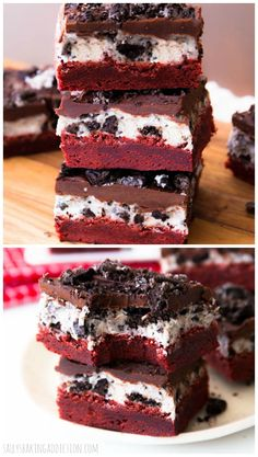 Homemade Red Velvet Brownies with oreo frosting and fudgy chocolate ganache. Oh yes!