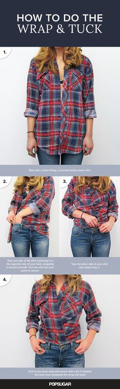 how to do the wrap and tuck | ways to style a button-down shirt