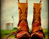 Western Photography Vintage Cowboy Boots Rustic Texas Fine Art Photography Print Red