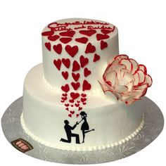 order/ Send 2 Tier Lovely Engagement Cake Online from CakeGift.in with same day and midnight cake delivery services. Online Cake Delivery, Best Bakery, Cake Online, Engagement Cakes, Cake Shop, Fabulous Foods, Wedding Cakes, Birthday Cake, Sweets