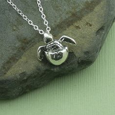 Baby Sea Turtle Necklace - 925 sterling silver jewelry - pendant. $42.00, via Etsy.