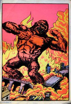 King Kong Hiroshima, Sean Adams, Giant Monster Movies, Trill Art, Vision Quest, Black Light Posters, King Kong, Nyc, Monsters