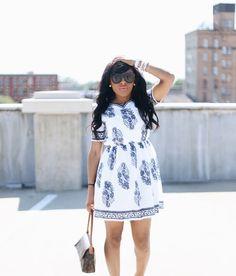 White & Blue Dress  || fashion blogger, white dress, david yurman, Karen walker, Opi, www.lowecopetite.com